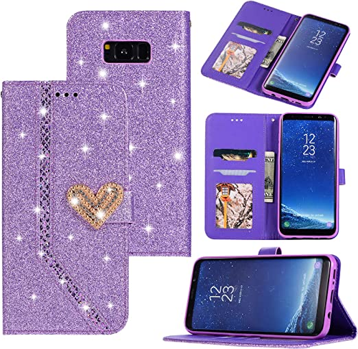 Galaxy Note 8 Case Wallet Case,WORLDMOM Glitter Shiny Bling Credit Cash Slot Folio Style Holder Magnetic Closure Leather Wallet Cover for Samsung Galaxy Note 8 Case,Rose Gold