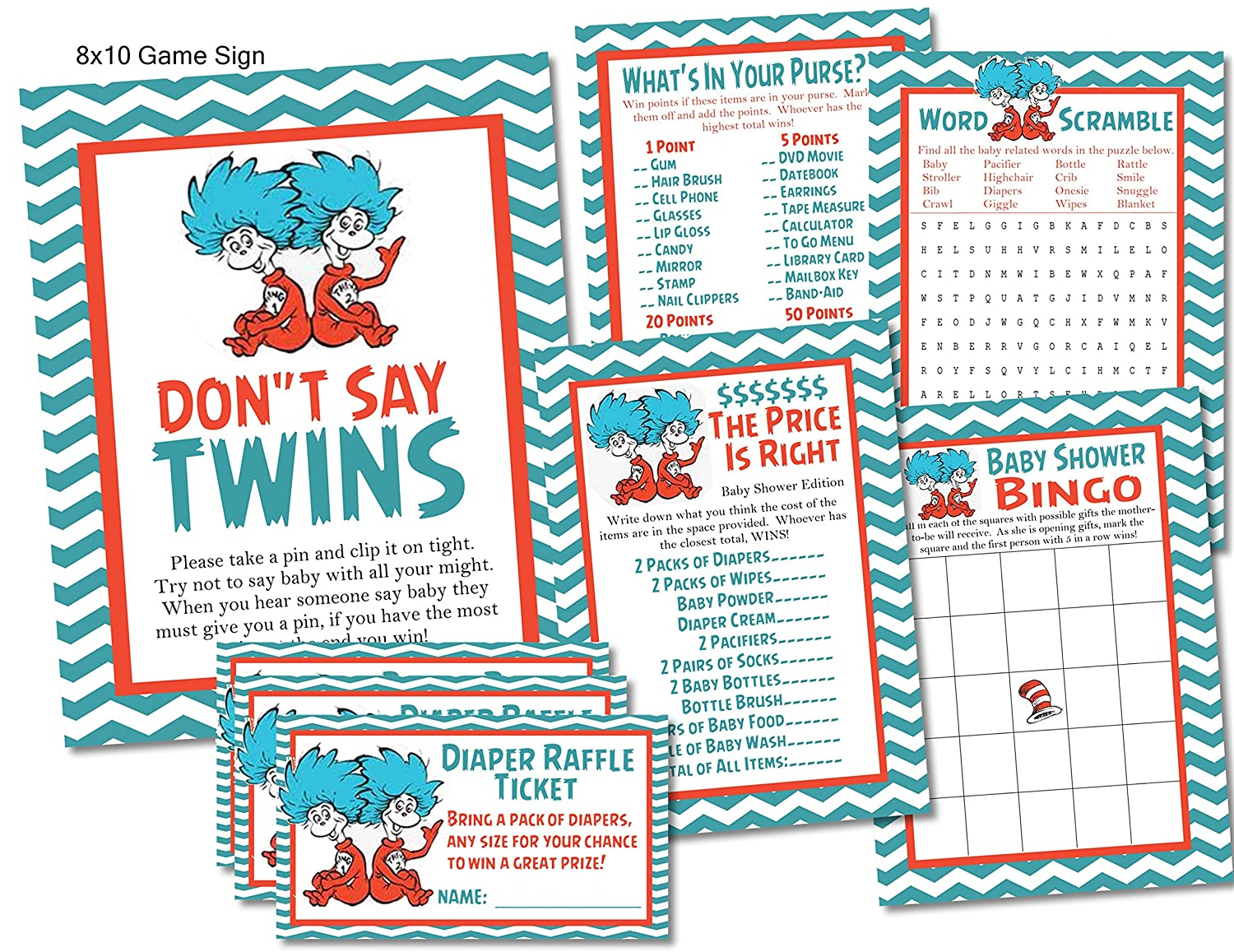 Amazon.com: Twins Thing 1 Thing 2 Dr. Seuss Baby Shower Game Card Sets -  101 Piece Set: Handmade