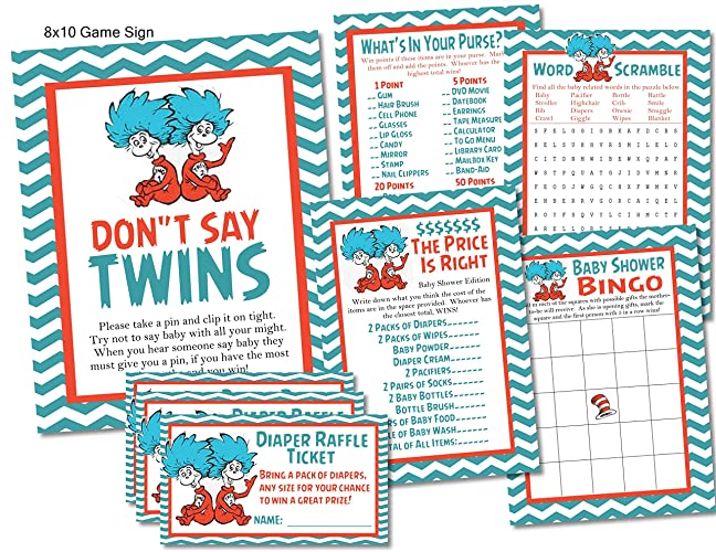 Amazoncom Twins Thing 1 Thing 2 Dr Seuss Baby Shower Game Card