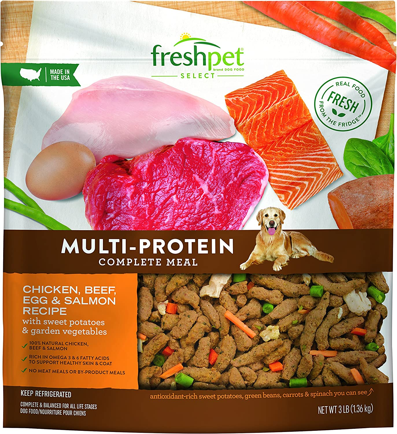 Freshpet Healthy Natural Dog Food, Fresh Multiprotein Recipe, 3lb