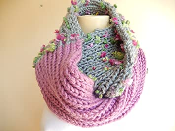 Knitting Loop Scarf : Amazon hand knit loop scarf grey and mauve pink infinity