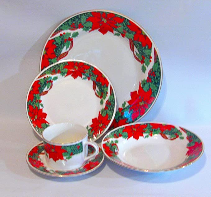 Gibson Poinsettia Holiday Christmas 20 Pc Service For 4 Dinnerware Set Dinnerware Sets
