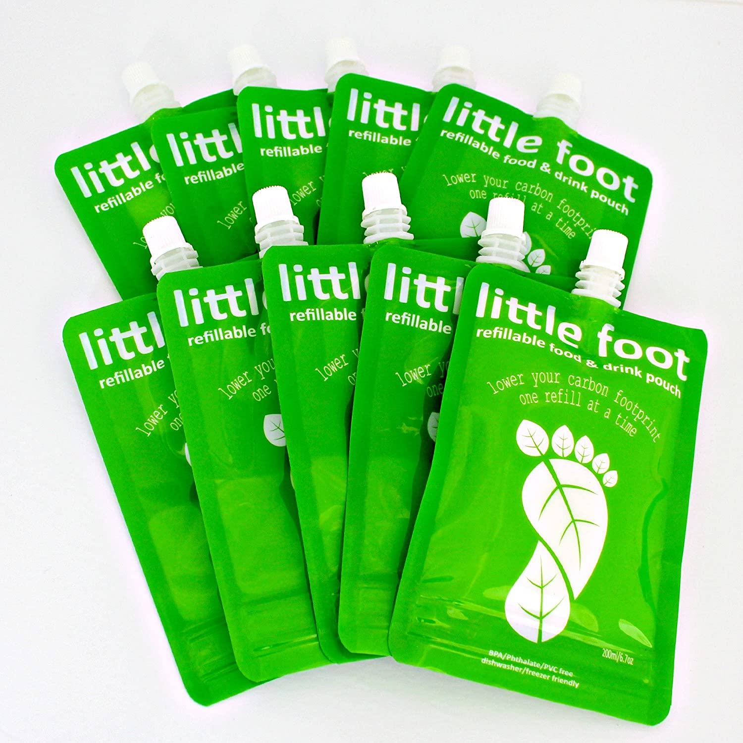 Little Foot - Reusable Food Pouch 200ml (10 Pack)
