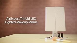 AirExpect: Makeup Mirror Vanity Mirror with Lights - 3 Color Lighting Modes 72 LEDs Trifold Mirror, Touch Co...