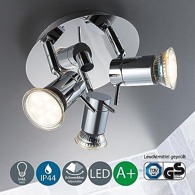 B.K. Licht plafonnier 3 spots LED orientables, plafonnier salle de ...
