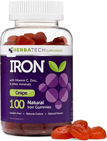 Iron Gummies for Adults and Kids, Chewable Multivitamin Supplement with Iron, Vitamin C, A, B, Zinc, Folic Acid, and Biotin (Grape Flavored) Vegan Safe, Made in The USA from HERBATECH