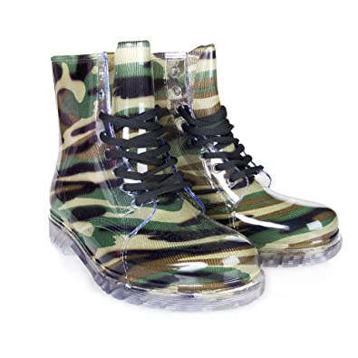 Gum-3 Women's Ankle Flat Jelly Martin Rain Boots Military