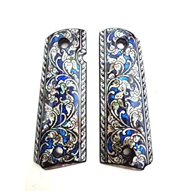 Sri Lanna Mother of Pearl Inlay 1911 Grips Fit with Colt S&W Kimber Springfield Blue Flower