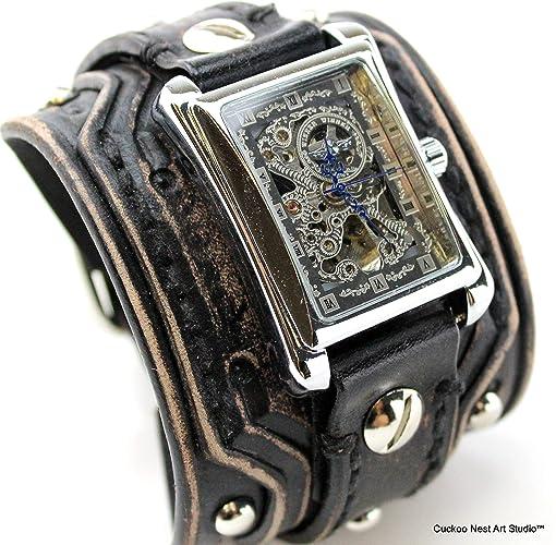 daa1f30d5 Wide Leather Watch Band, Distressed Black leather watch, Rectangular  Steampunk wrist watch, Leather Watch Cuff, Vintage leather watch, Bracelet  watch, ...