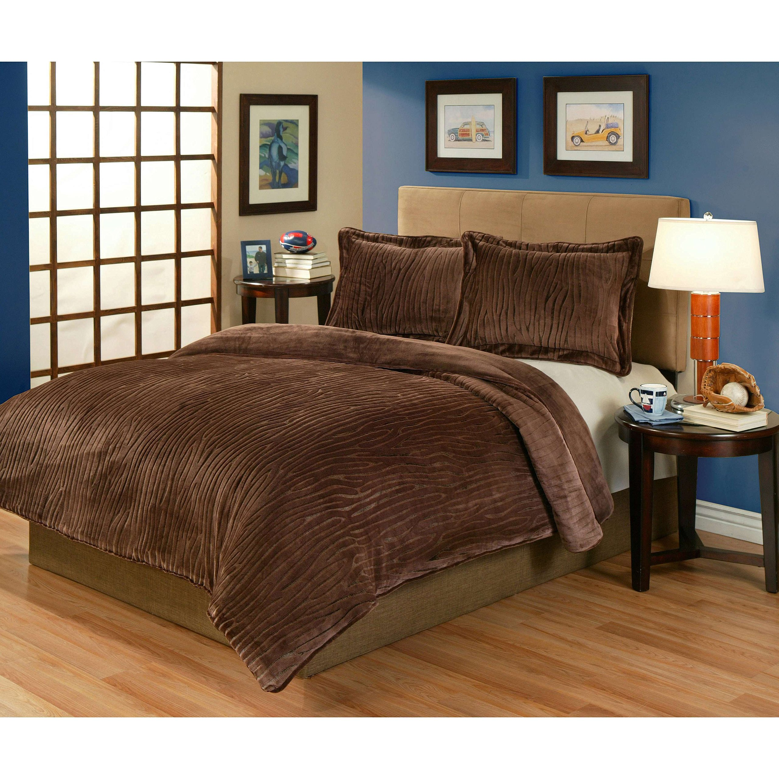 3 Piece Brown Cabin Lodge Wood Pattern Comforter Full Queen Set, Elegant Velvet Plush Sculpted Texture Design, Soft & Comfy Reversible Bedding, Features Lightweight, Warmth, Microplush Polyester