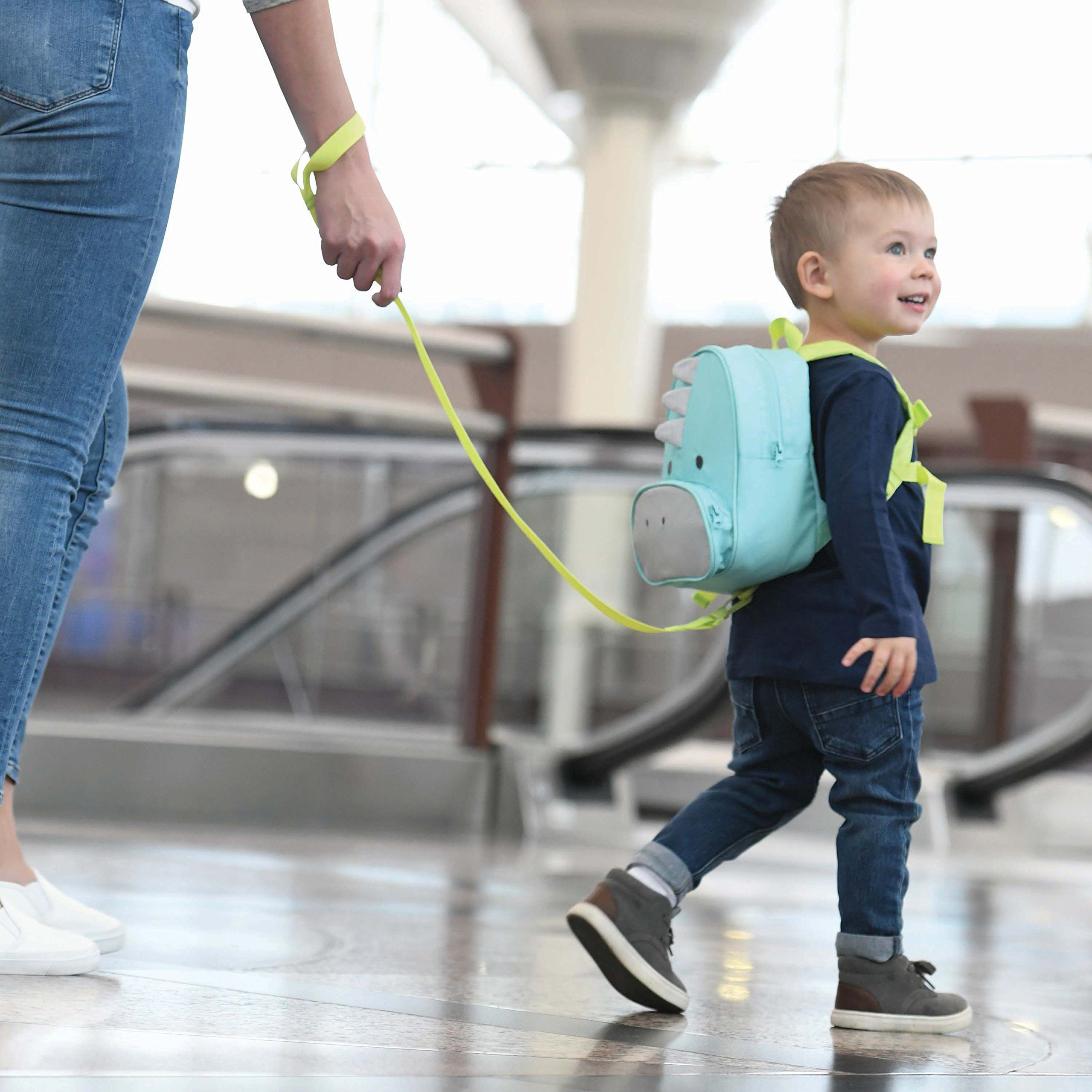 Travel Bug Toddler Safety Dinosaur Backpack Harness with Removable Tether, Teal/Grey by Travel Bug (Image #2)