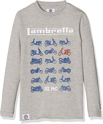 Lambretta Moto tee Long Camiseta, Gris (Grey Marl), 8-9 años para Niños: Amazon.es: Ropa y accesorios