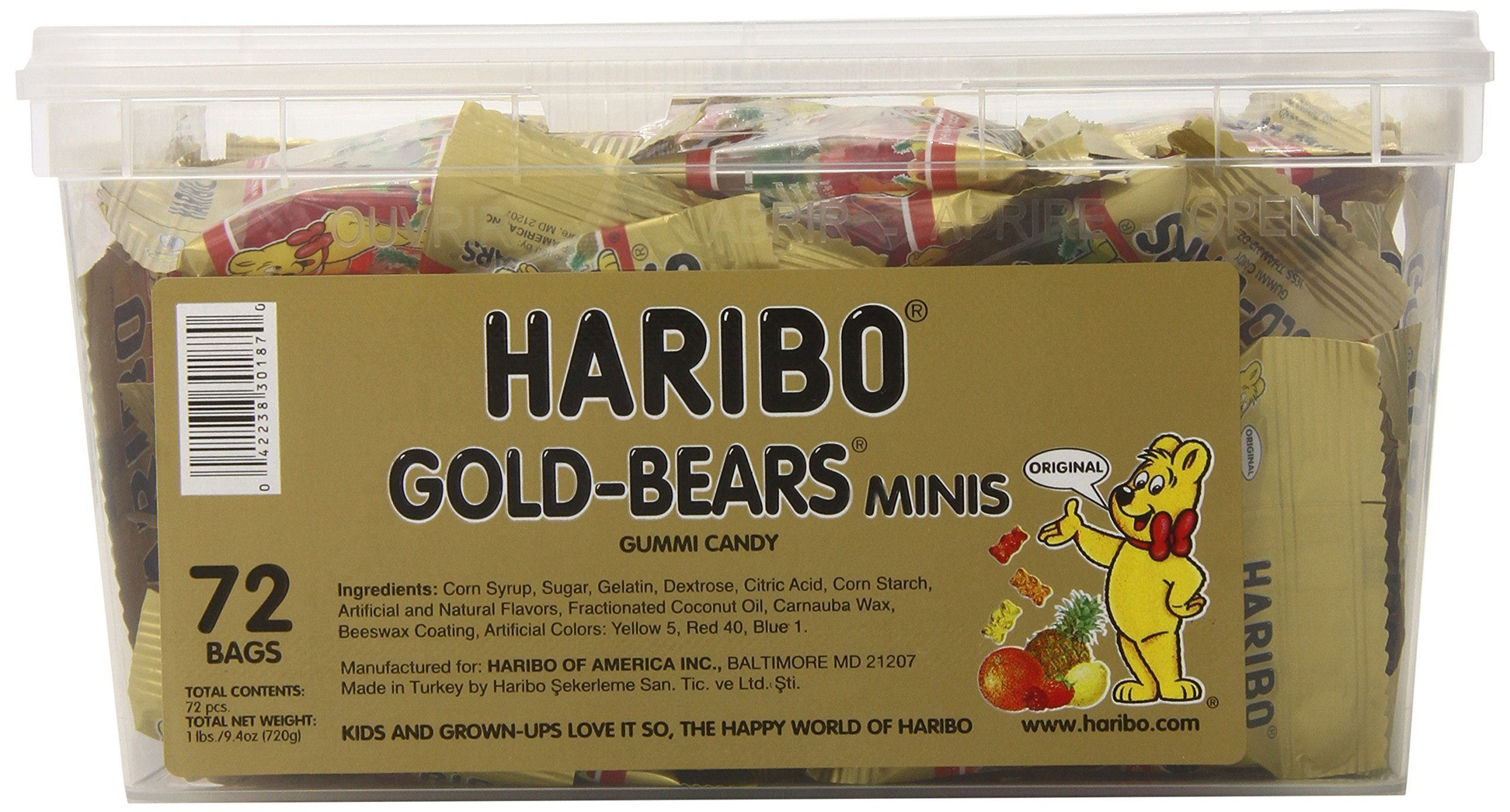 Haribo Gold-Bears Minis, 72-Count, 1 Pound 9.4 Ounce Original Bears in mini bags