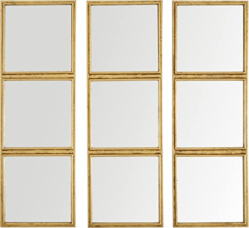 Amazon Brand Rivet 3×3 Tile Mirror Decor, 36 Inch Height, Gold Finish