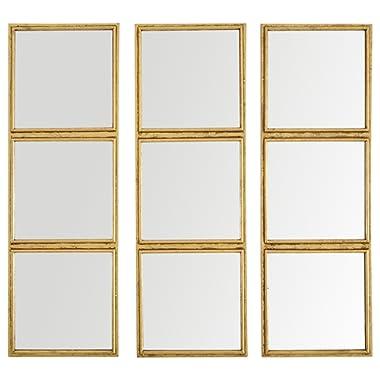 Rivet 3x3 Tile Mirror Decor, 36 Inch Height, Gold Finish