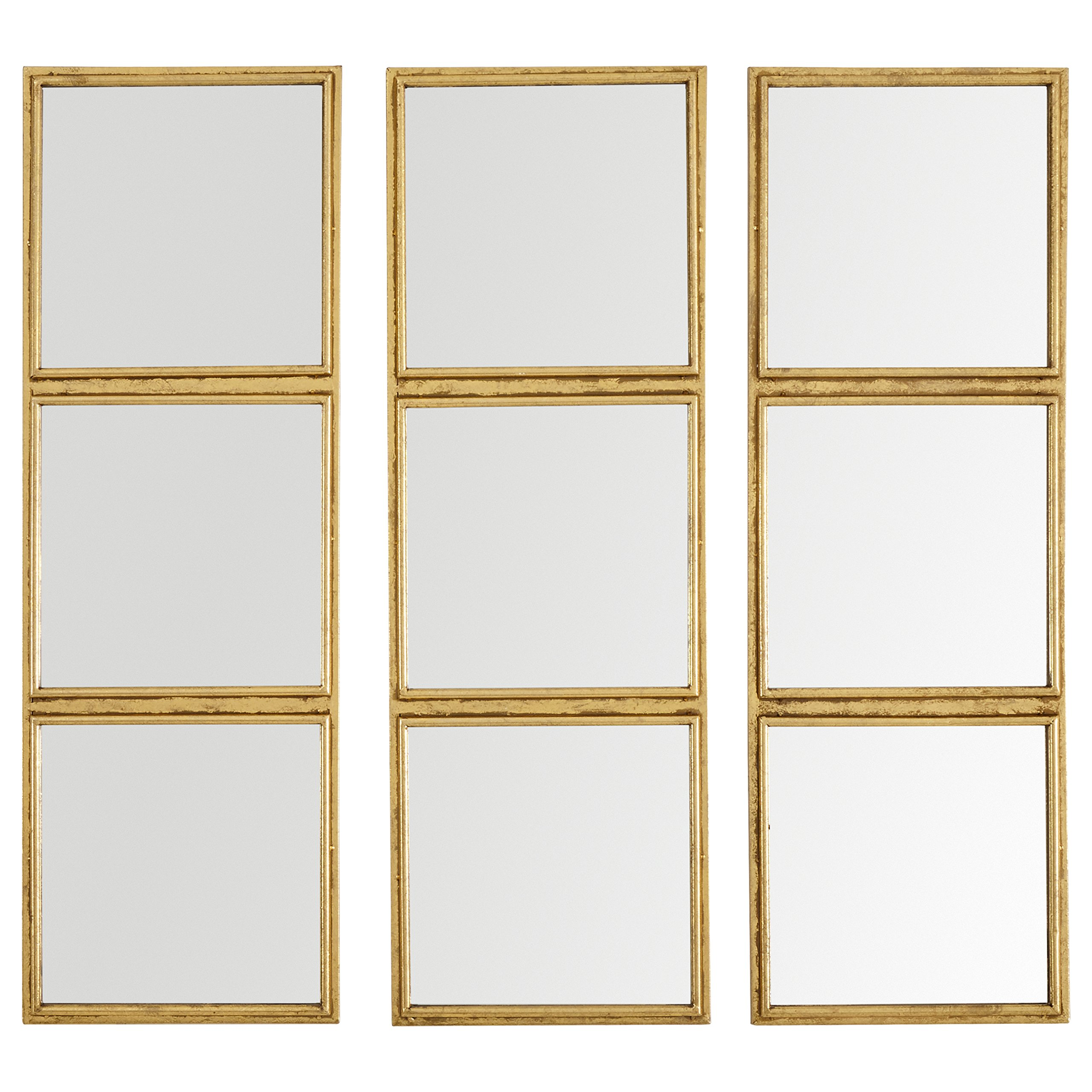 Rivet 3x3 Tile Mirror, 36'' H, Gold Finish