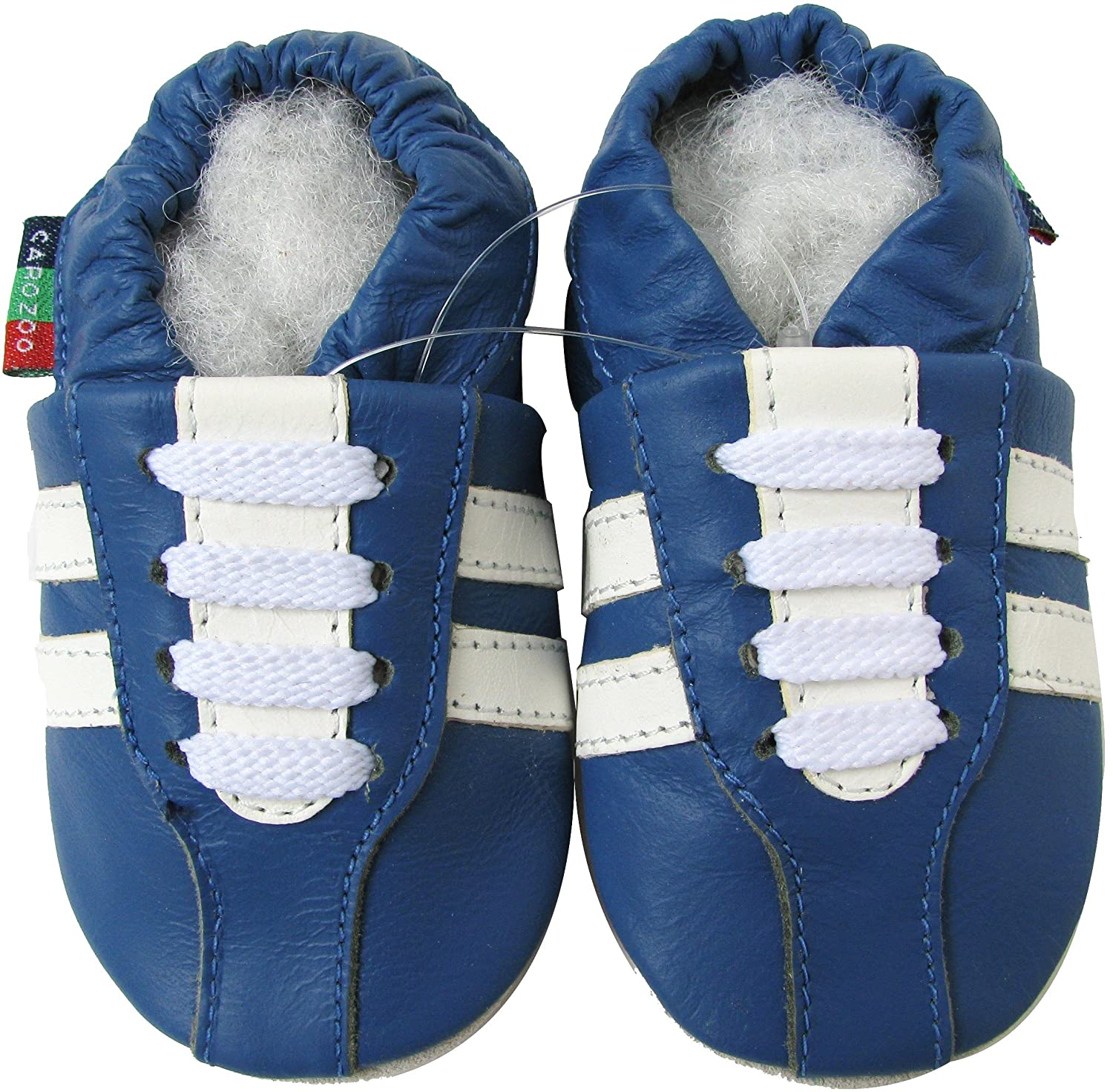 Carozoo Unisex Baby Soft Sole Leather Shoes Sneaker Blue S