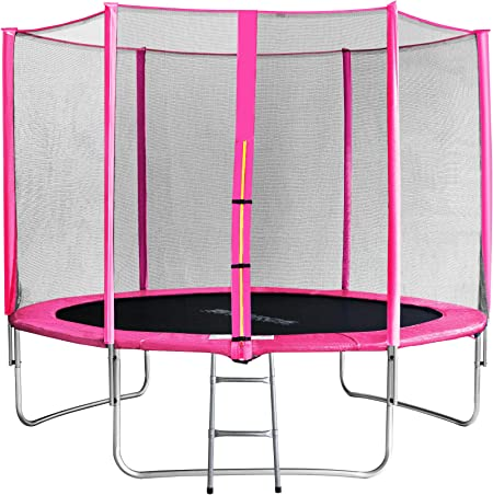 SixBros. SixJump 3,05 M Trampolín Cama elástica de jardín Fucsia - Escalera - Red de Seguridad - Lluvia Cobertura TP305/1694: Amazon.es: Deportes y aire libre
