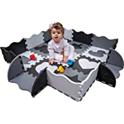 Non-Toxic Baby Play Mat for Infants with Collapsible Fence Edging for Infant Tummy Time and Activity. 48  x 48  (Black/White/Gray)