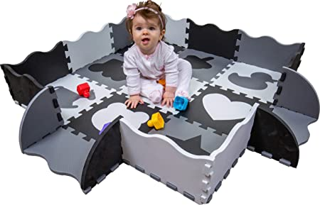 Wee Giggles Play Mats for Infants Non Toxic Foam Play Mat with Fence Infant Floor Mat for Tummy Time 48 x48 Gray Black White
