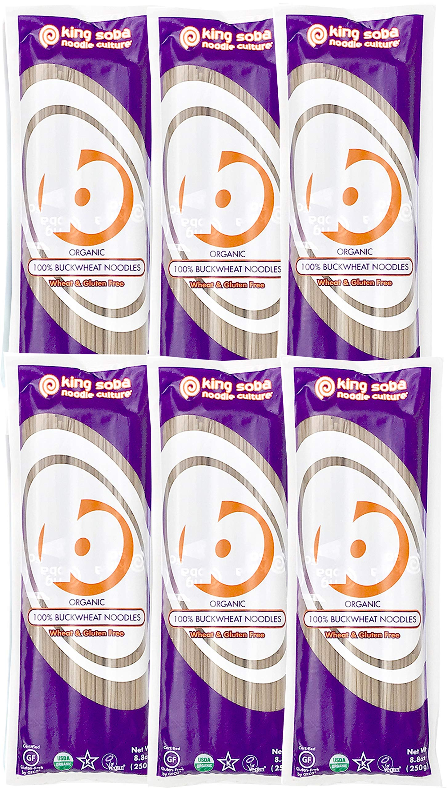 King Soba 6-PACK Gluten Free & Organic 100% Buckwheat Pasta Noodles 8.8oz - 3 Servings Per Pack by King Soba Noodle Culture