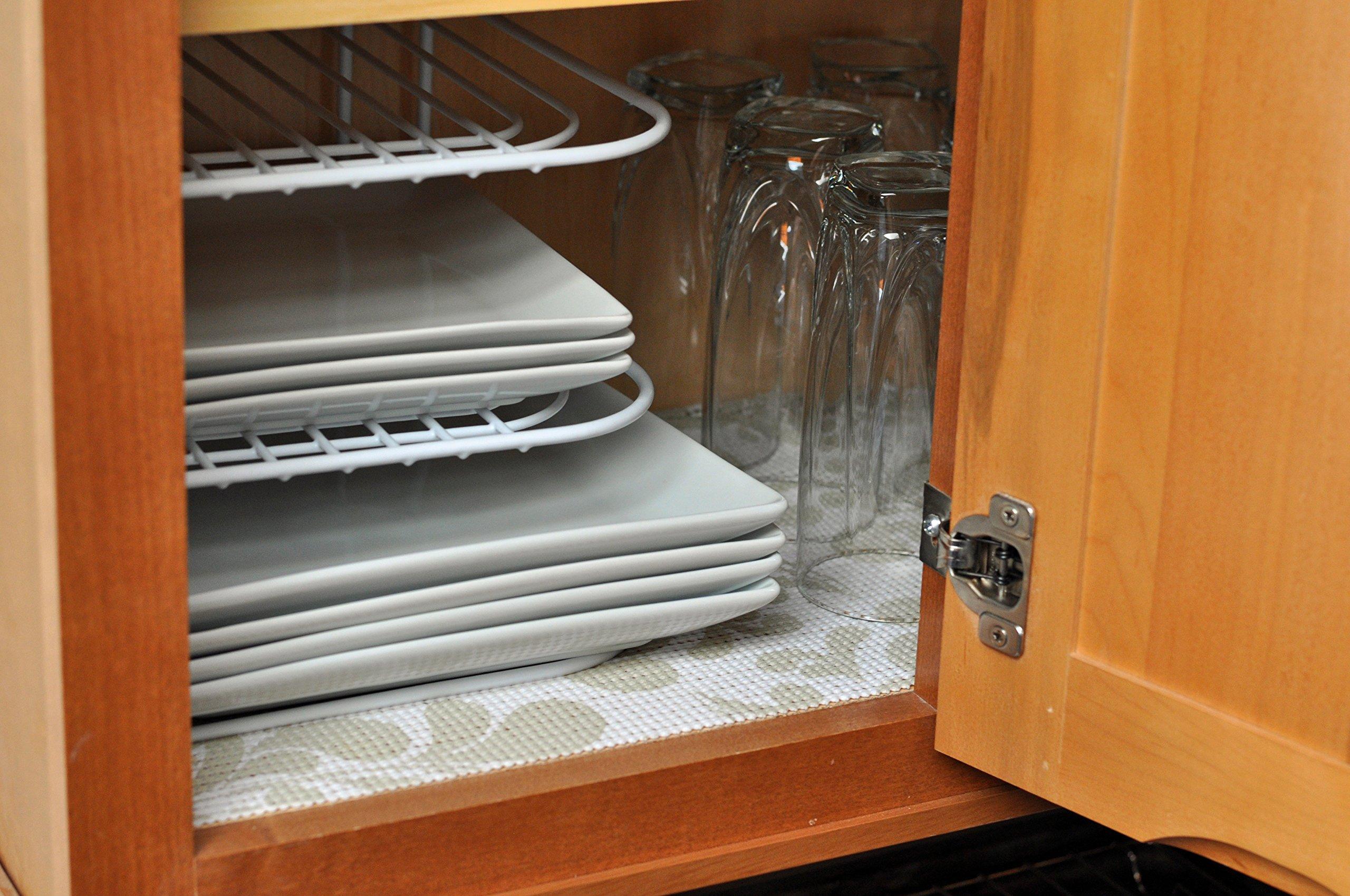 3 Pcs- Kitchen Cabinet Organizer Set| 3 Tier Corner Plate Rack| Under Shelf Basket| Magic Cover Vinyl Liner