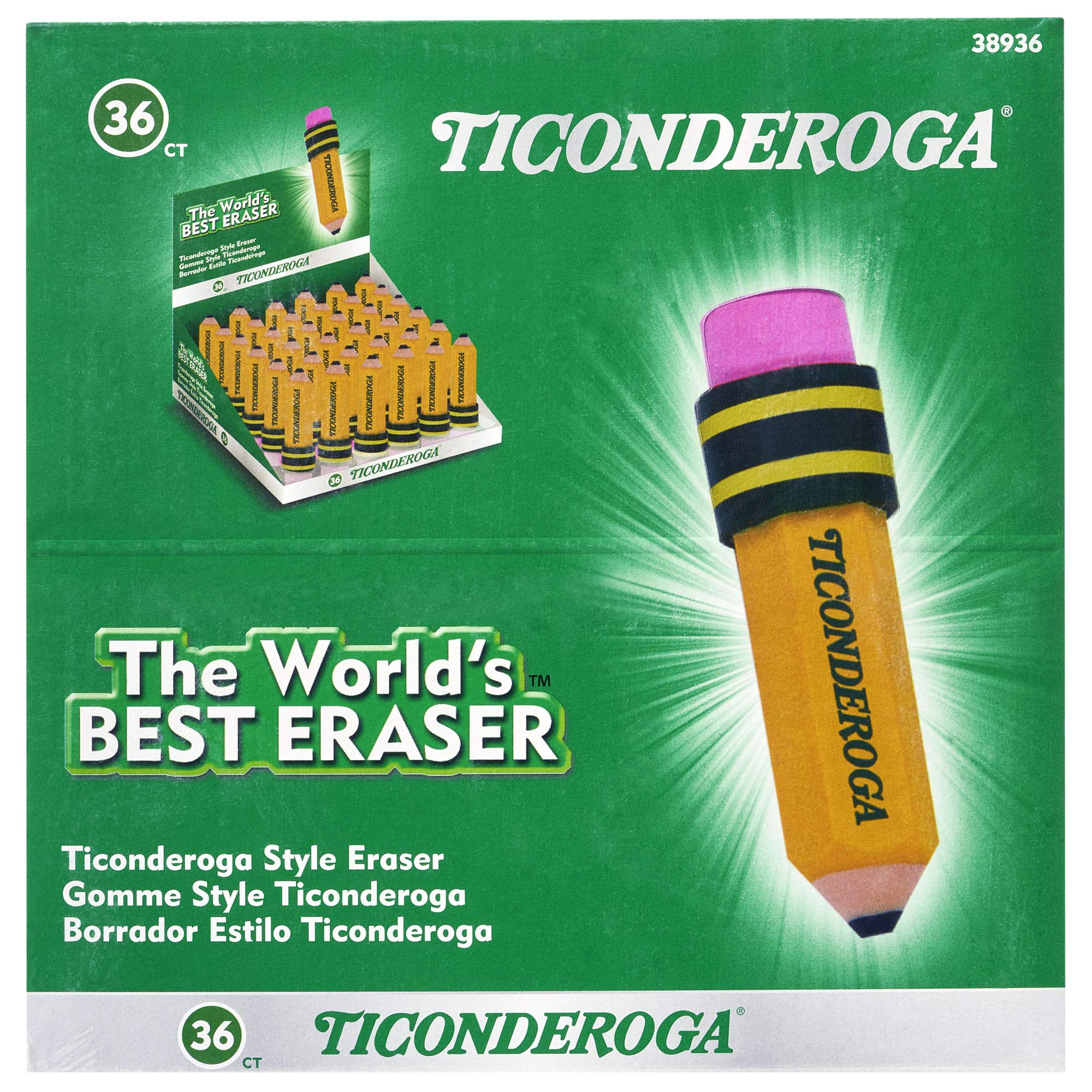 TICONDEROGA Erasers, Pencil Shaped, Yellow, 36-Pack (38936) by Ticonderoga (Image #3)