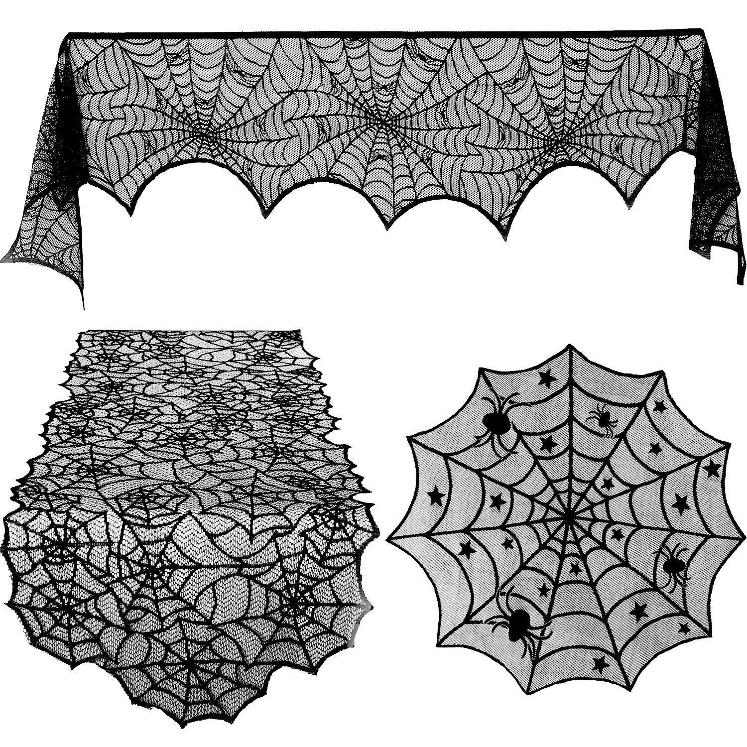 Blulu 3 Pieces Halloween Lace Spiderweb Tablecloth Fireplace Mantle Table Runner Round Spider Web Table Cover Topper for Halloween Home Party Decor, 3 Sizes