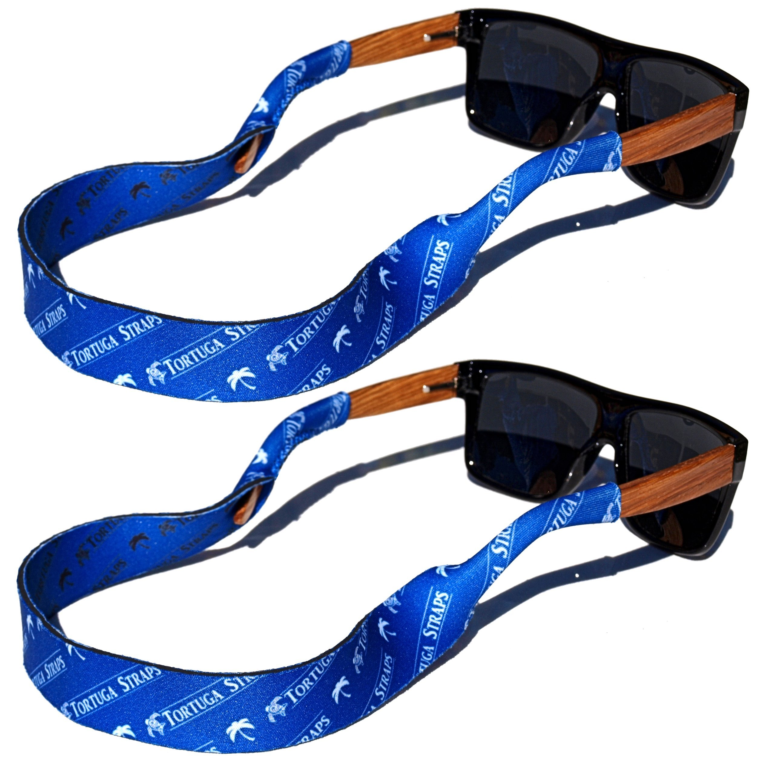 TORTUGA STRAPS FLOATZ RF Sea Blue Glasses Strap - 2 Pk | Floating Adjustable Sunglass Straps | Soft & Comfortable Dual Sided Fabric | 3MM Neoprene Base for Added Durability | Universal Easy Fit by Playa Vida