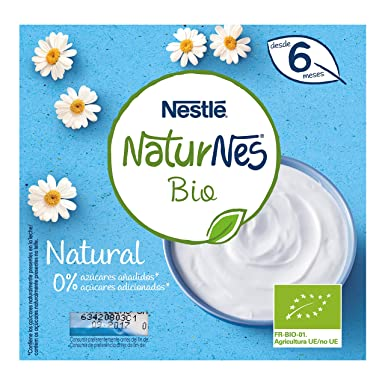 Nestlé Naturnes Bio - Postre lácteo Natural - Postre lácteo Para bebés - Paquete de 6x4 unidades de 90g