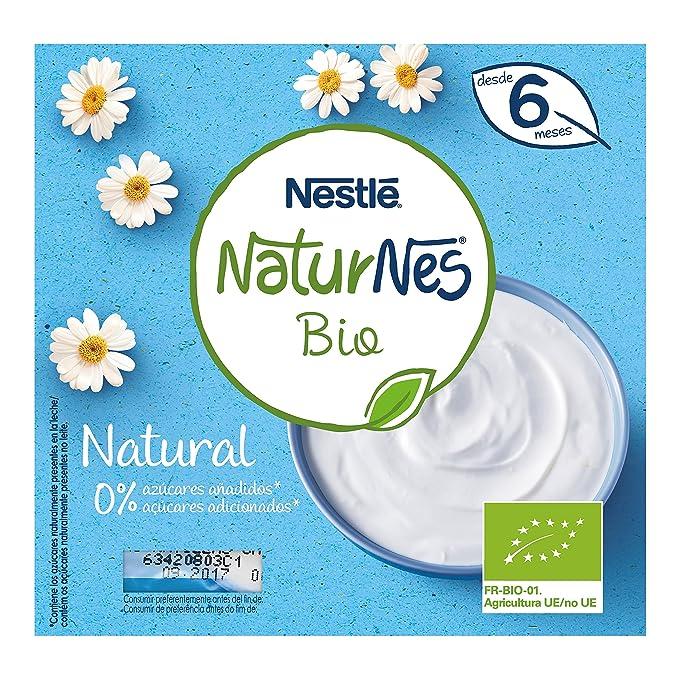 Nestlé Naturnes Bio - Postre lácteo Natural - Postre lácteo Para bebés - Paquete de 6x4