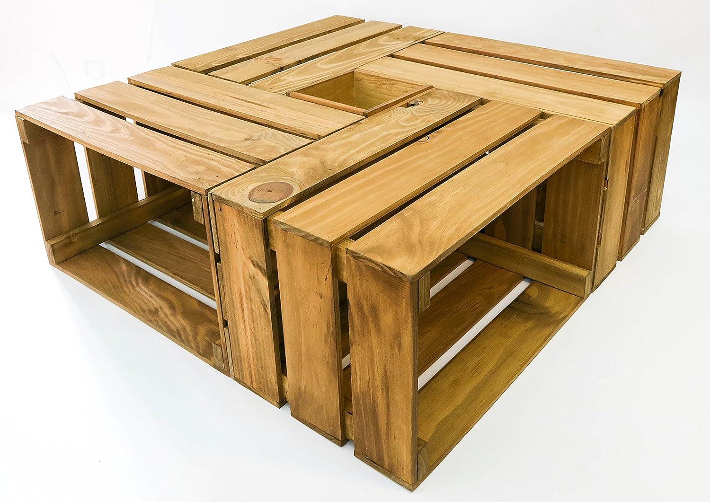 Mesa cajas de madera - 4 cajas más caja central. Incluye ruedas. Cajas Nuevas hechas a mano. Mesa 82x82 cm.: Amazon.es: Hogar