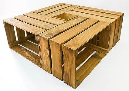 Mesa cajas de madera - 4 cajas más caja central. Incluye ruedas. Cajas Nuevas