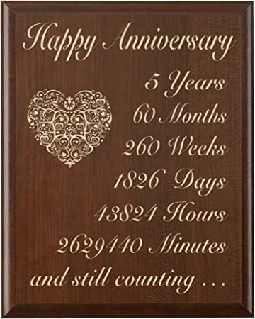 Quinto Anniversario Di Matrimonio.5th Wedding Anniversary Wall Plaque Regali Per Coppia 5
