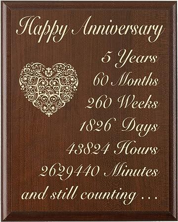 Quinto Anniversario Di Matrimonio.5th Wedding Anniversary Wall Plaque Regali Per Coppia 5