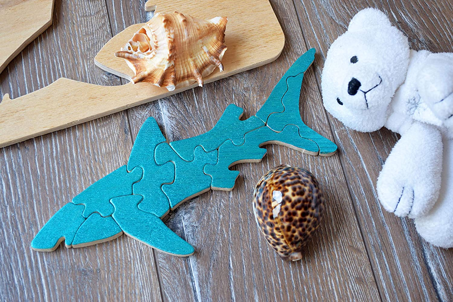 Shark Wooden puzzle Baby Toy Montessori
