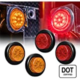 """ONLINE LED STORE 4 PC 2"""" Round LED Clearance Light Side Marker - Two in One Reflector and Clearance Light [Polycarbonate Reflector] [10 LEDs] [Rubber Grommet] [IP 67] for Trailers - 2 Red and 2 Amber"""