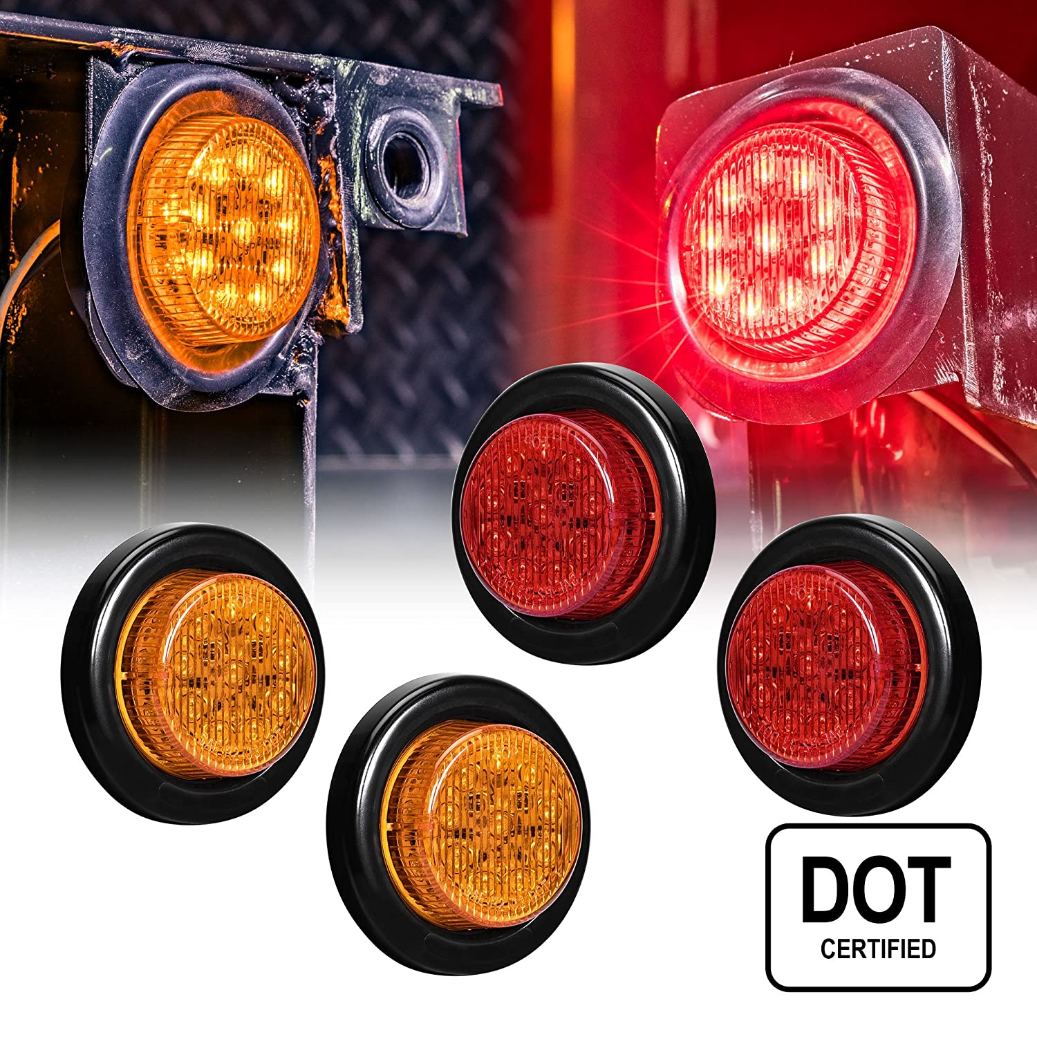 "4 PC OLS 2"" Round LED Clearance Light Side Marker - Two in One Reflector and Clearance Light [Polycarbonate Reflector] [10 LEDs] [Rubber Grommet] [IP 67] for Trailers - 2 Red and 2 Amber"