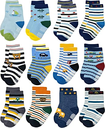 RATIVE RB-71317 Non Skid Anti Slip Slipper Cotton Striped Crew Dress Socks with Grips for Baby Toddler Boys