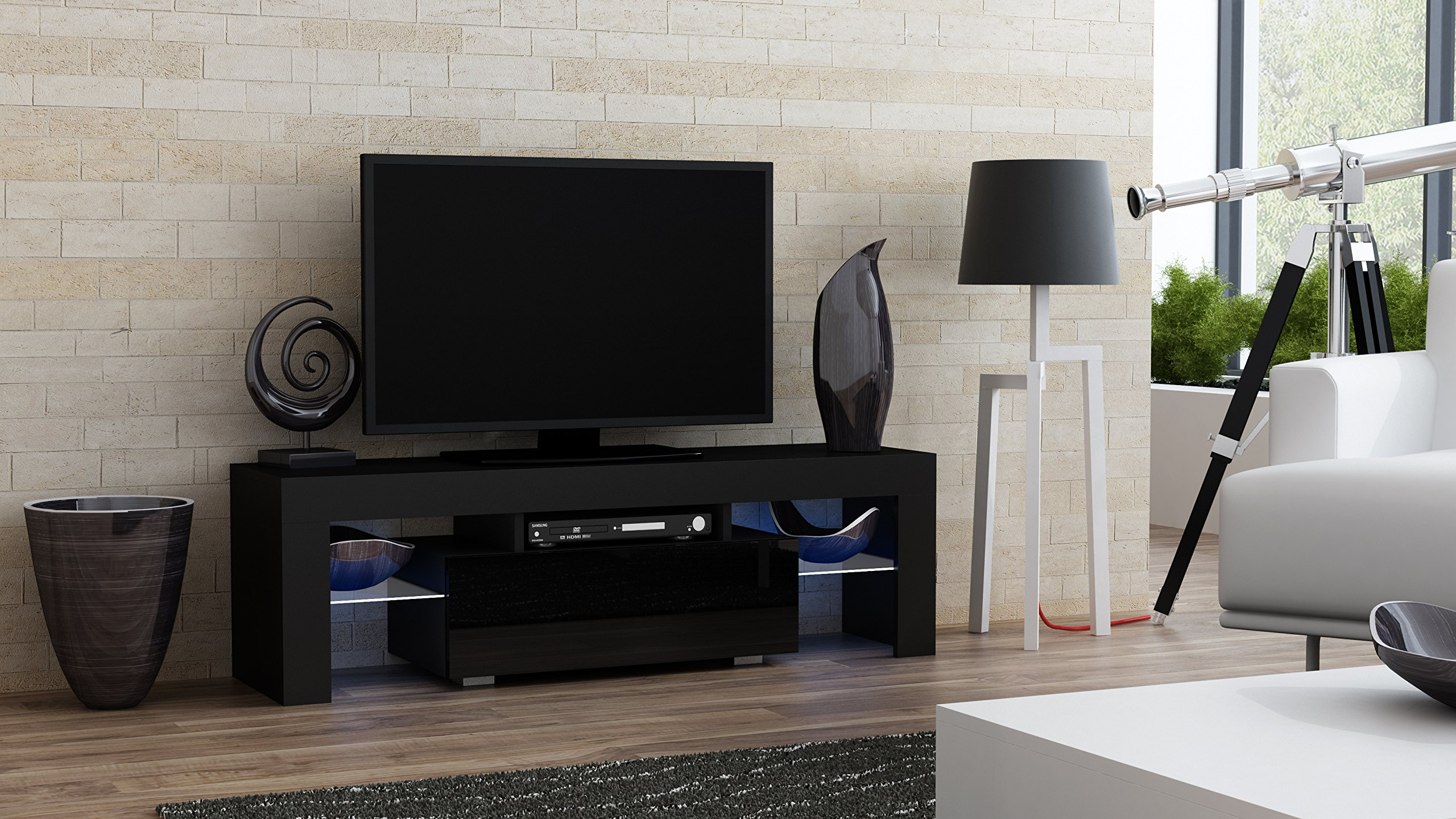 TV Stand MILANO 130 / Modern LED TV Cabinet / Living Room Furniture / Tv Console fit for up to 55'' flat TV screens / Capacity Tv Console for Modern Living Room (Black & Black)