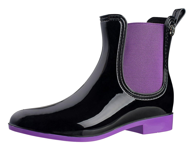 Silky Toes Women's Fashion Elastic Slip On Short Rain Boots B01IDXLFS6 37 M EU|Purple