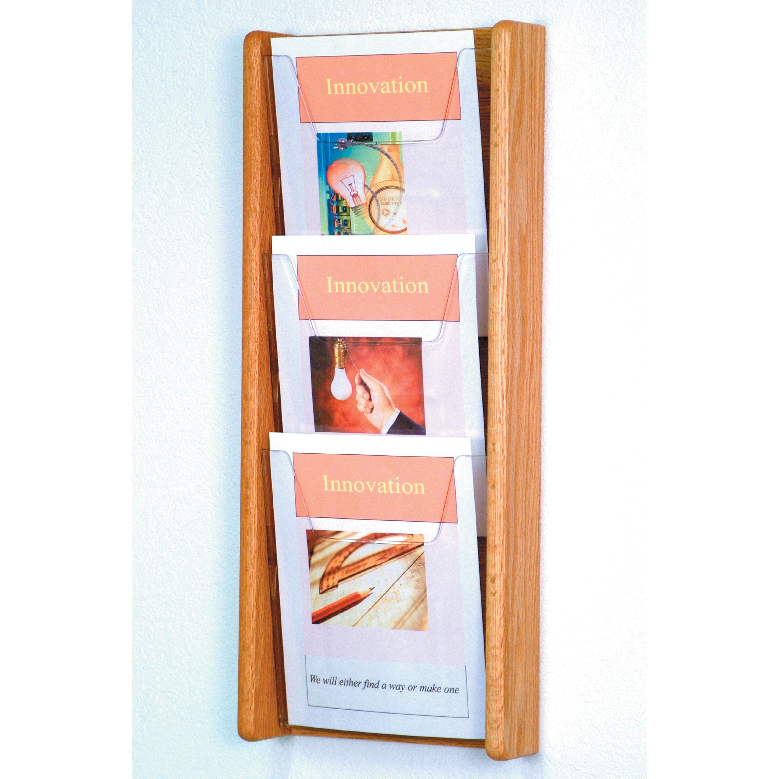 DMD Literature Display, 3 Pocket, Solid Oak and Acrylic Wall Mount Rack, Light Oak Wood Finish
