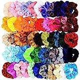 Chloven 55 Pcs Premium Velvet Hair Scrunchies Elastics Bobbles Hair Bands Scrunchy Hair Ties Ropes Scrunchie for Women…