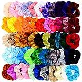 HavenJanny 55 Pcs Premium Velvet Hair Scrunchies Elastics Bobbles Hair Bands Scrunchy Hair Ties Ropes Scrunchie for…