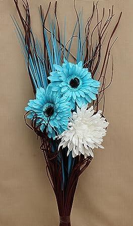 Gerbera Artificiel En Soie Bleu Ciel Et Blanc Vase Bouquet Gazon