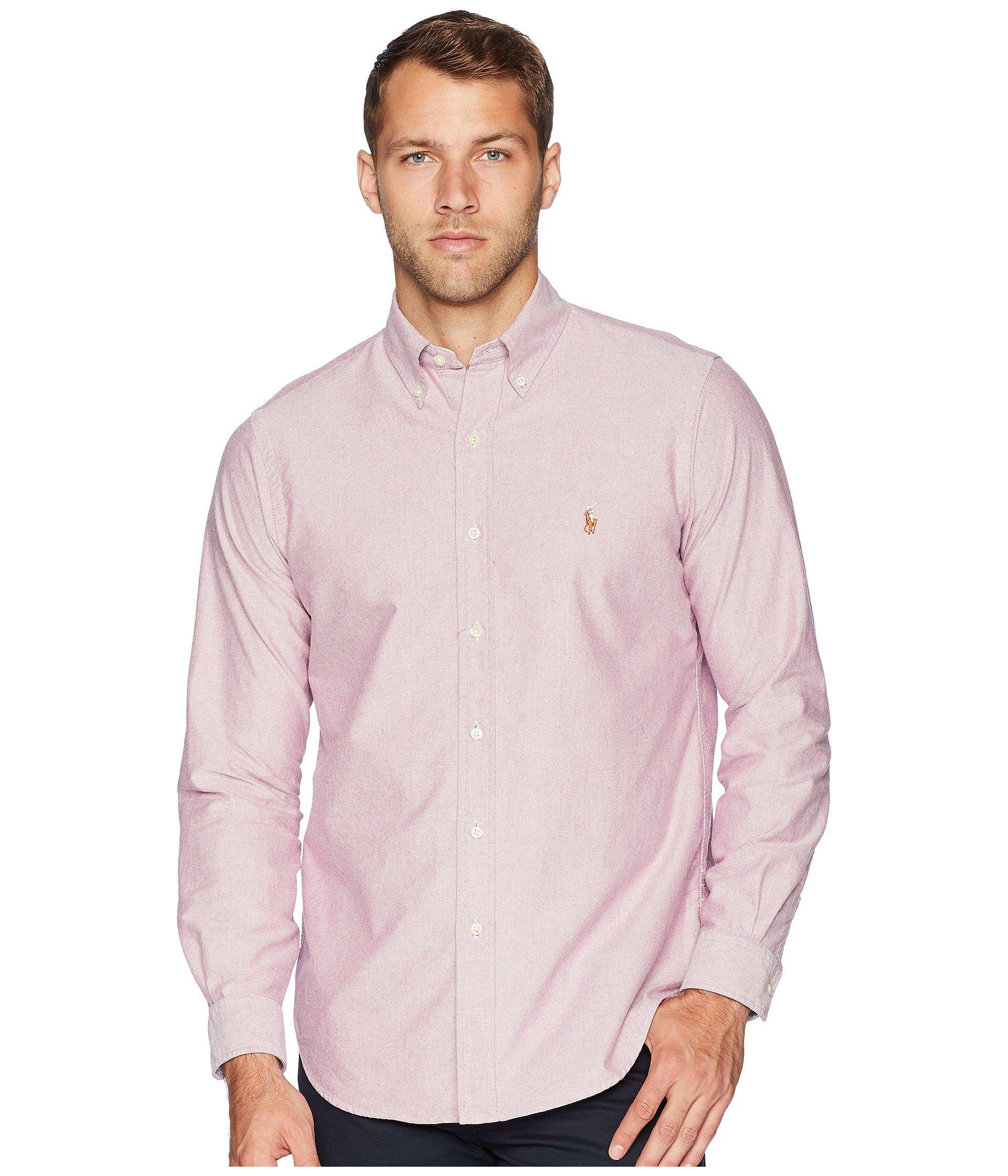Ralph Lauren Men Solid Sport Oxford Shirt (XXL, Crimson)