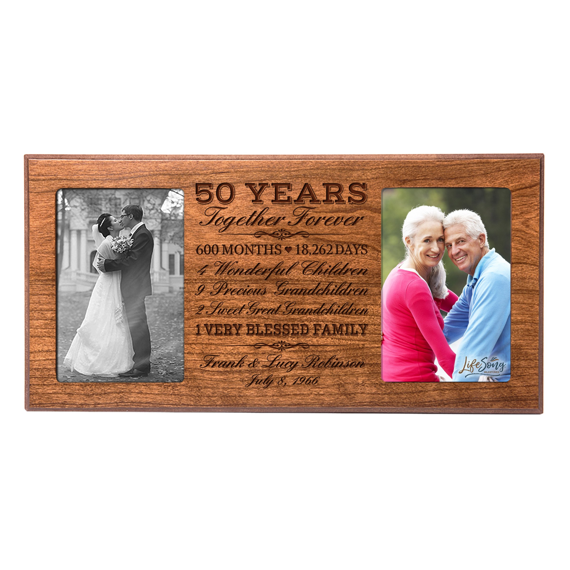 LifeSong Milestones Personalized 50 year her him couple Custom Engraved wedding celebration for Husband wife girlfriend boyfriend photo frame holds two 4x6 photos (Cherry)