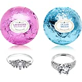 Ocean Breeze Lavender Bath Bombs Gift Set of 2 with Rings Inside Each Made in USA