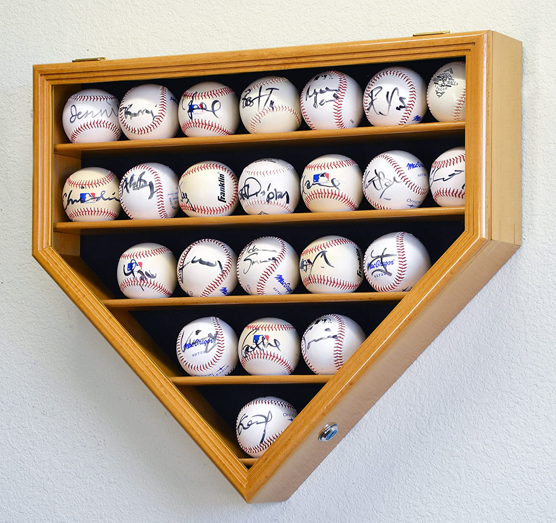 sfDisplay.com, Factory Direct Display Cases 23 Baseball Ball Display Case Cabinet Holder Wall Rack Home Plate Shaped 98% UV Protection- Lockable -Oak