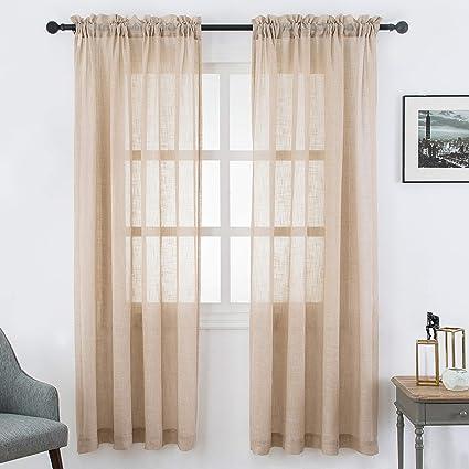 Amazon.com: VISIONTEX Faux Linen Light Brown Sheer Curtains Rod ...